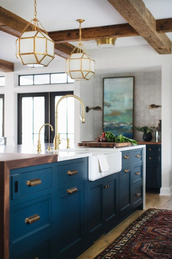 13 Reasons Why You Should Opt For Dark Painted Or Dark Wood Kitchen Cabinets Hunker Home Decor Kitchen Modern Farmhouse Kitchens Farmhouse Kitchen Decor