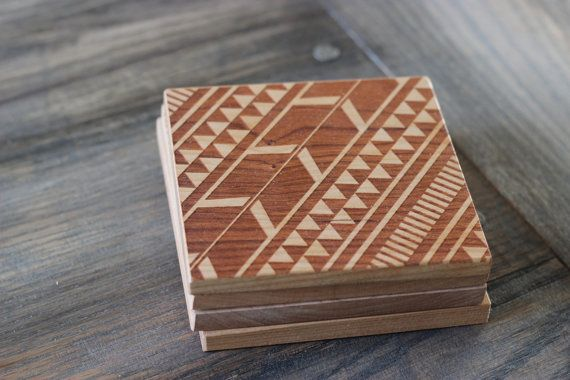 aztec patterned coasters | richwood creations