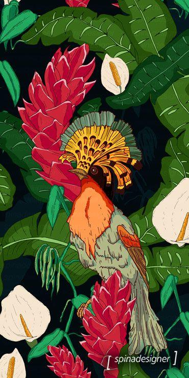 Walter Spina | Tropical Birds #print #pattern #illustration #art #estampa #digitalpainting