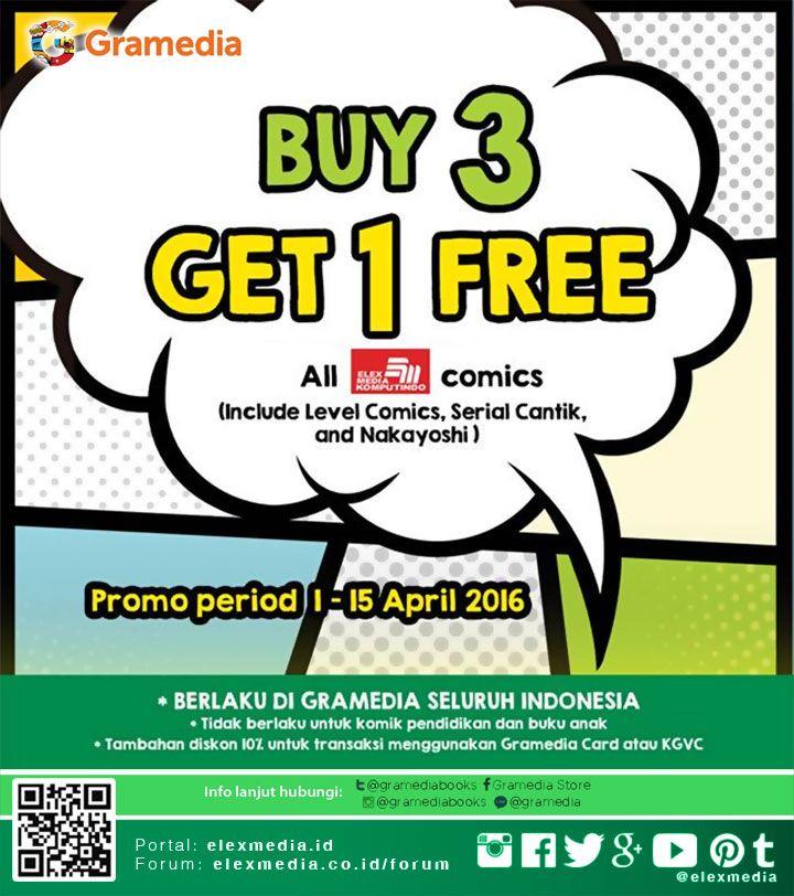 BUY 3 GET 1 FREE untuk komik Elex Media & Level Comics!  Periode 01-15 April 2016  Pertanyaan & info lanjut sehubungan promo ini, hubungi kontak penyelenggara promo yang tercantum, Customer Service   toko Gramedia terdekat atau kunjungi: http://j.mp/promokomik201604  #ElexMedia #Gramedia #Buku #Fiksi #Komik #Promo