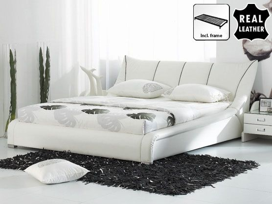 Bed 160x200 cm - Leather Bed incl. stable slatted frame - NANTES