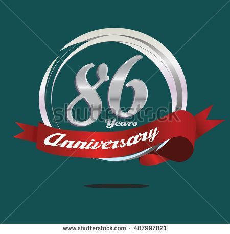 86 years silver anniversary logo with silver ring composition and red ribbon. anniversary logo for birthday, celebration, wedding and party