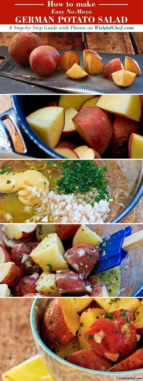 A Step-by-Step Guide: Easy No Mayo German Potato Salad // wishfulchef.com