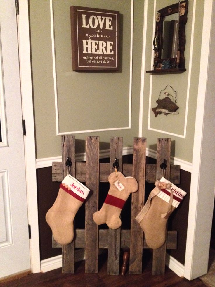 Our Rustic Pallet Stocking Hanger! Got the stockings from Etsy & the ...