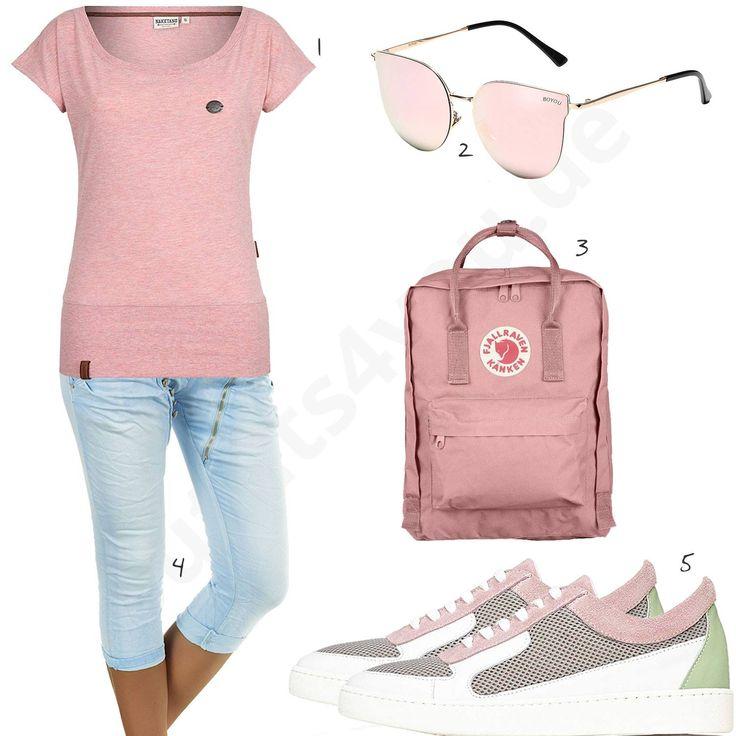 Rosa Damenoutfit mit Shirt, Brille und Rucksack