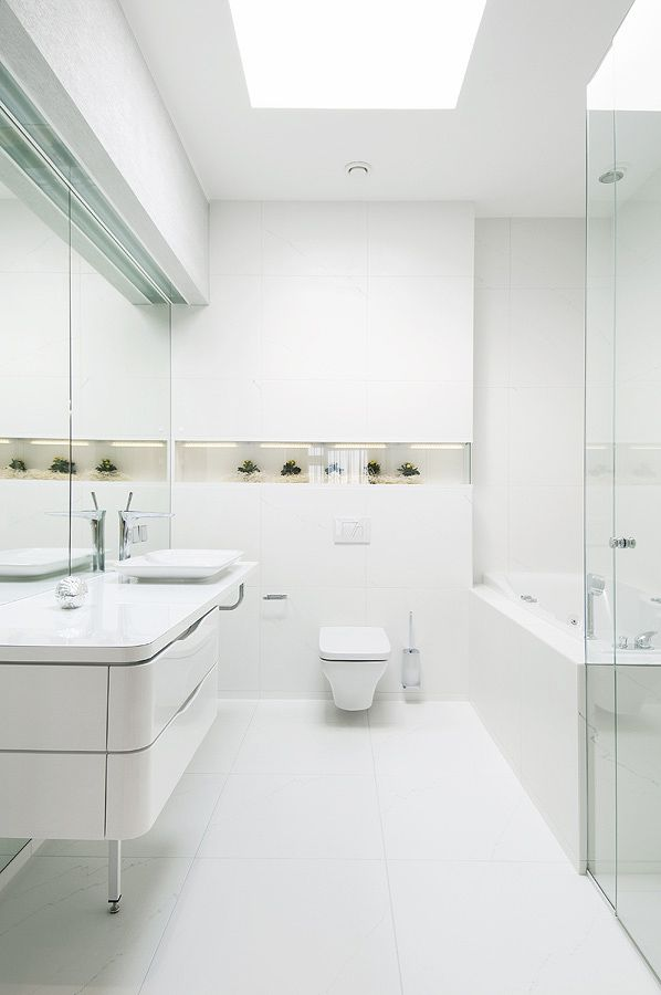 bathroom reflective white surfaces with decorative niche and plants portrait