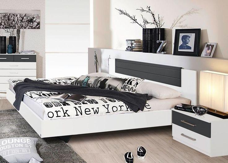 Bettanlage Barcelona Weiß Grau 8234. Buy now at https://www.moebel-wohnbar.de/futonbett-barcelona-mit-nachtkommoden-bettanlage-weiss-grau-8234.html