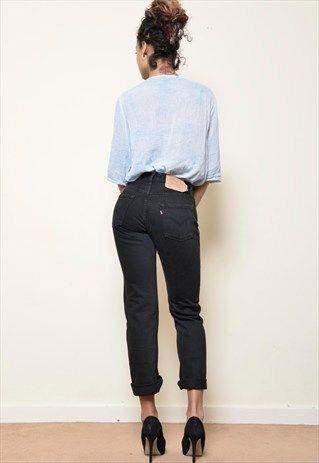 LEVIS 501 BLACK HIGH WAISTED JEANS