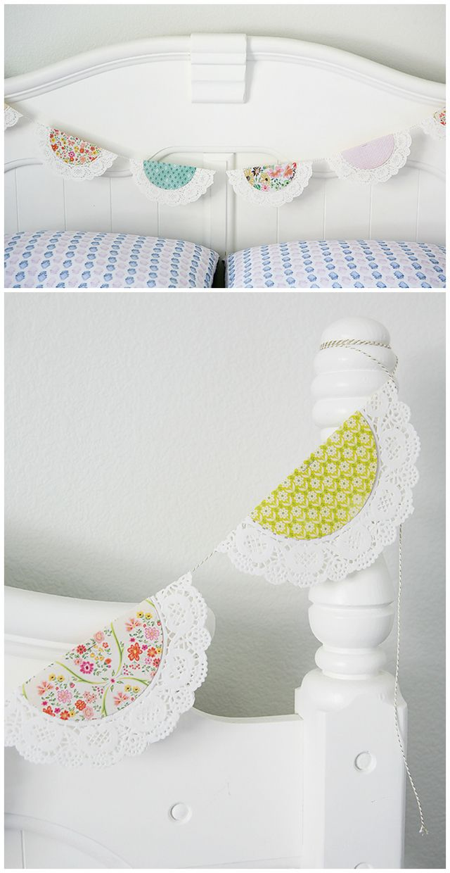 Pretty Spring Doily Banner | Home decor ideas. Can be switched up for any holiday or season