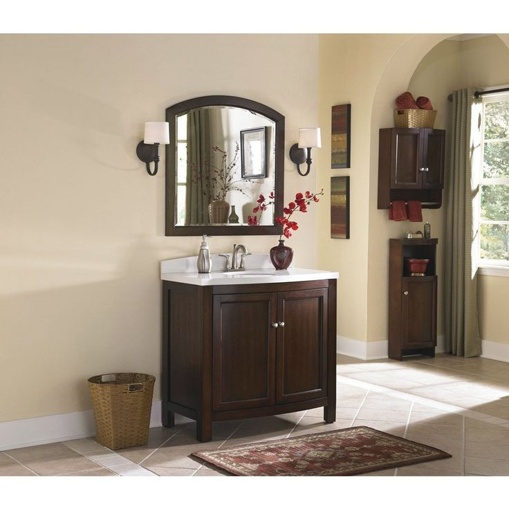 Photo Gallery Website Shop allen roth Moravia Sable Undermount Single Sink Birch Poplar Bathroom Vanity with Engineered Stone Top Common x Actual