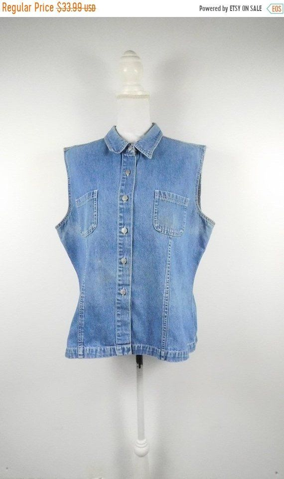 13ab0dcb854ed4 50% NEW YRS SALE Vintage 90s Sonoma Light Blue Denim Jean Button Up  Collared Chest Pockets Sleeveless Shirt Top Blouse Sz Xl Plus Size by  WearingMeOutVtg on ...