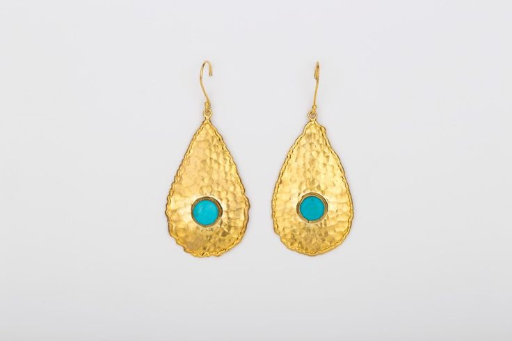 Drop in the ocean Earrings_Turquoise - Gold plated
