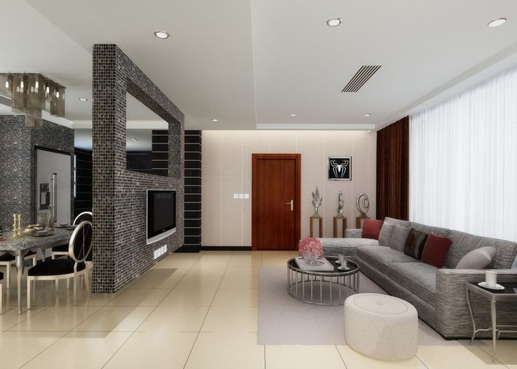 Living room partition inside brick tv wall as partition for Dining hall wall design