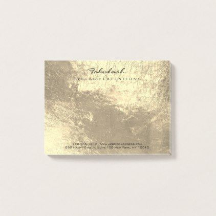 Gold Sepia Metallic Name Web Telephone Number Post-it Notes - foil leaf gift idea special template