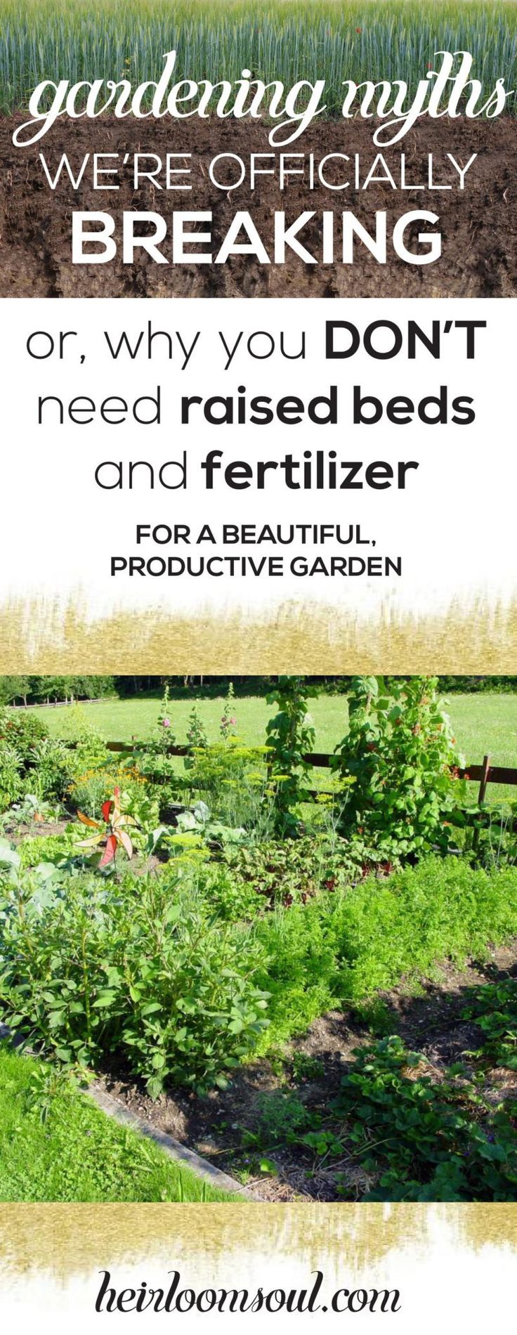 Why You Don't Need Raised Beds and Fertilizers for Your Garden - Organic Gardening Myths We're Officially Breaking | Heirloom Soul | heirloomsoul.com