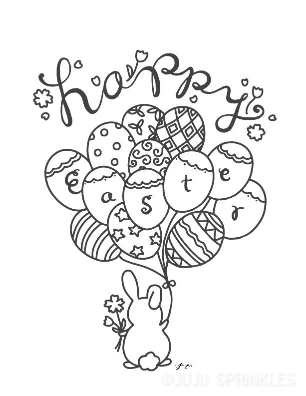 FREE Happy Easter Bunny Coloring Page and Card - Juju ...