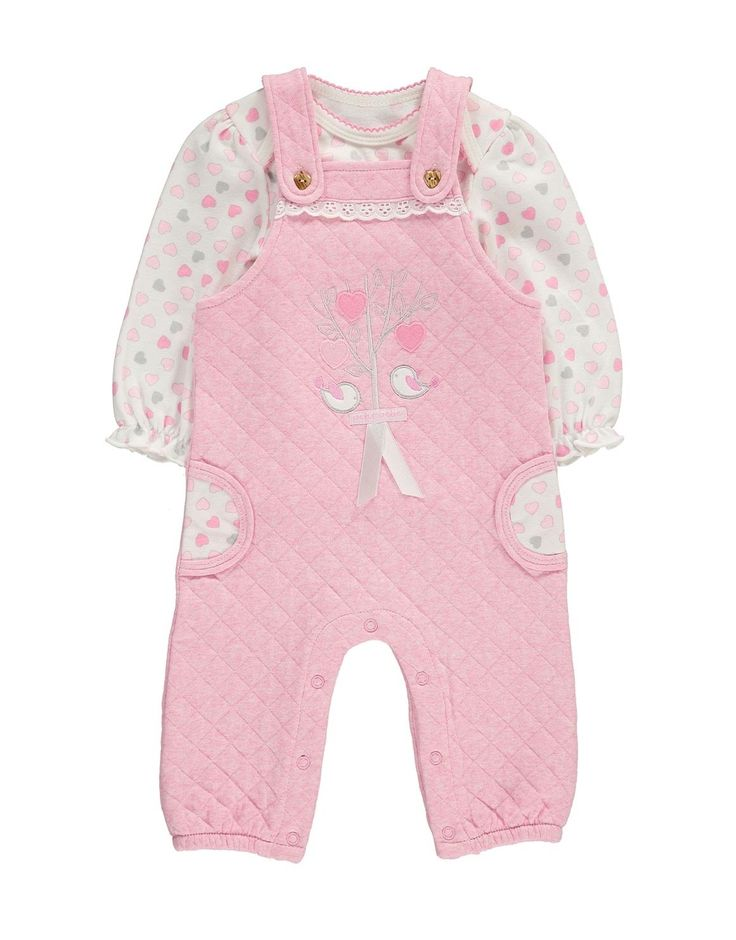 Heart Quilted Dungarees Set