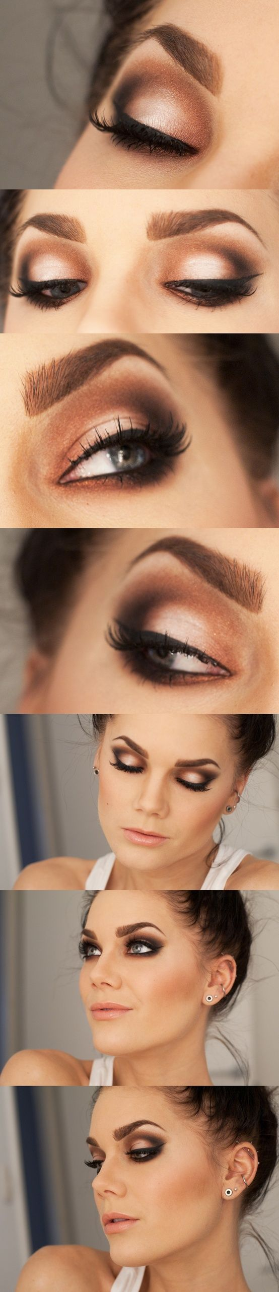 dark brown/taupe smokey eye w/ retro eyeliner.