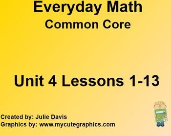 This is a bundle of Everyday Math 4 Common Core Edition Kindergarten EDM4, Unit 4, Lessons 1-13. These lesson are for the SMARTboard. The lessons include interactive games, vocabulary 4.1 Attribute Blocks 4.2 Shapes by Feel 4.3 Favorite Colors Graph 4.4 Meet the Calculator 4.5 Ten Frame Quick Looks 4.6 Moving with Teens 4.7 Building Hexagons 4.8 Building Numbers 4.9 Exploring Weight 4.10 Exploring Capacity 4.11 Counting by 10s 4.12 Top It with Number Cards 4.13 Number Grid Exploration
