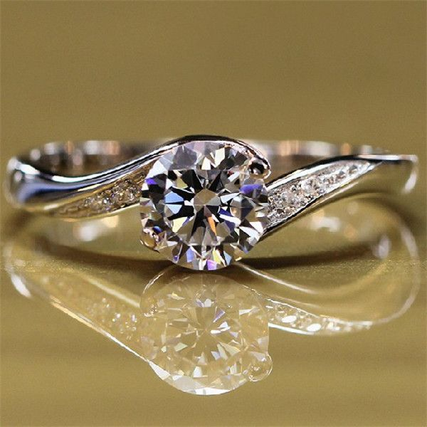 Inexpensive Modern Style Tension Cubic Zirconia Sterling Silver Engagement Wedding Promise Ring