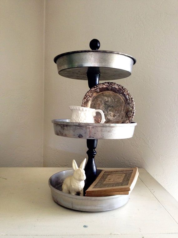 Repurposed Farmhouse Cake Pan Tiered Stand on Etsy, $30.00