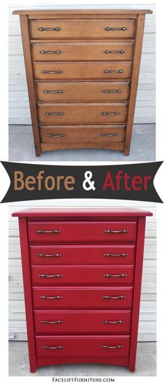 Chest of drawers upstyled in Barn Red and Black Glaze ~ Before & After. Find more painted, glazed & distressed inspiration on our Pinterest boards, or on the Facelift Furniture DIY blog.
