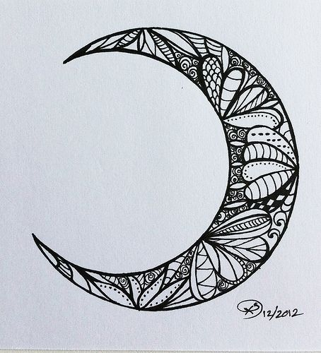 (JG) to correspond with stage four of the Great Round of Mandala : Embracing the New  inkedpaper: Waxing Crescent Moon II (Moon Series)— © X. S. 12.05.12 via Tumblr