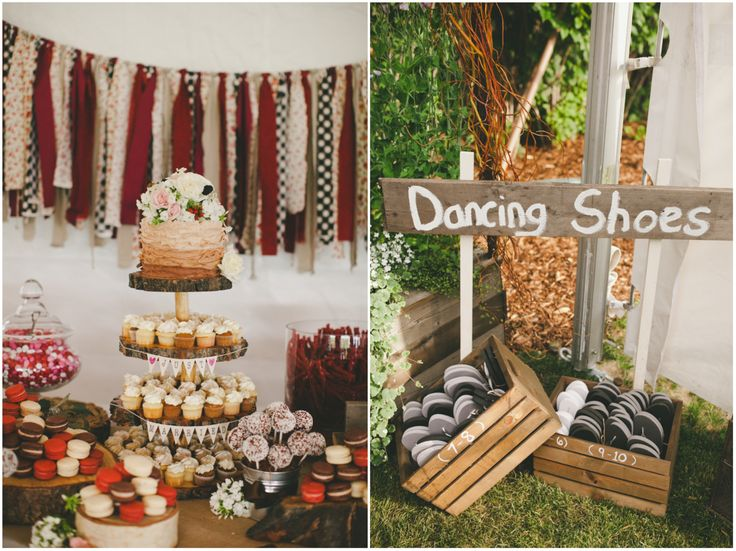 Every back yard wedding needs dancing shoes.  And sweets, lots of sweets.