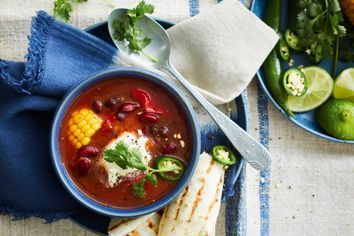 Mexican mixed bean slow-cooker soup