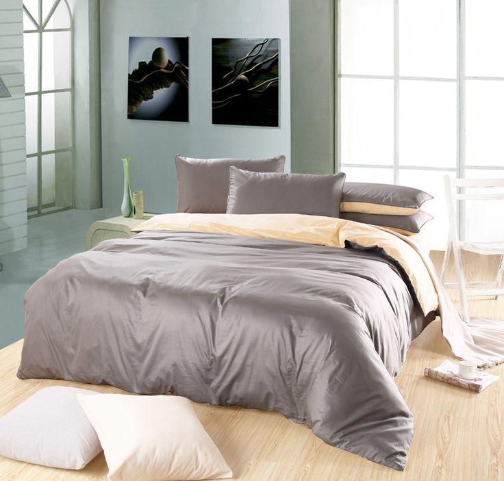 Classique couleur Pure plaine couleurs mélangées 100% coton ensemble de literie / housse de couette couvre lit de feuille de literie gris argent et de couleur crème dans Ensembles de literie de Maison & Jardin sur AliExpress.com | Alibaba Group