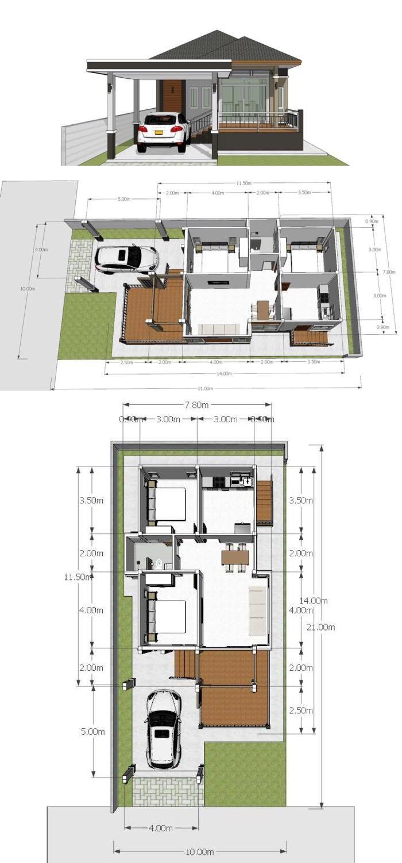 3 Modern House Design Plans Single Story Home Design 40x60f With 4 Bedrooms Desain Rumah Rumah Minimalis Rumah Impian