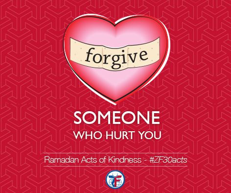 """Day 4 of the Acts of Kindness, forgive someone who has hurt you.   The Prophet (peace be upon him) said, """"O Uqbah, reconcile with whoever cuts you off, give to whoever deprives you, and ignore whoever wrongs you."""" (Narrated by Uqbah ibn Amir, Musnad Ahmad)"""