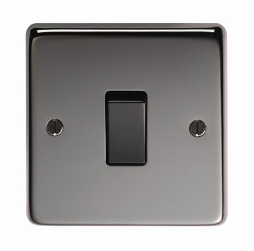 Black Nickel Single Light Switch - This single light switch is a high quality product, with a black nickel finish. The black nickel finish is elegant and beautifully highlights the texture of the steel.