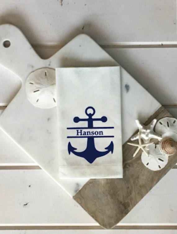 Custom Anchor Napkins Personalized Nautical Linen Napkin White And Navy Blue Decor Outdoor Entertaining Wedding Gift Hostess By