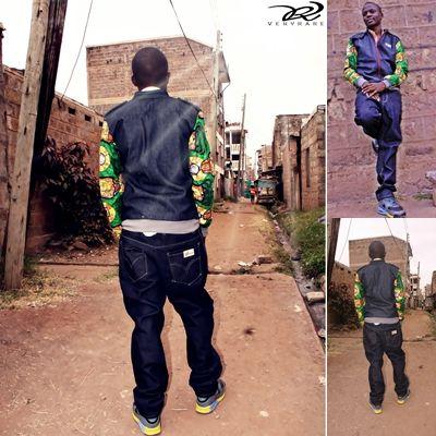 denim african print collage jckt