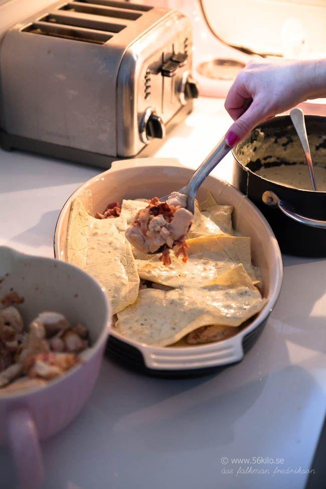 LCHF-lasagne Ägg, färskost, fiberhusk