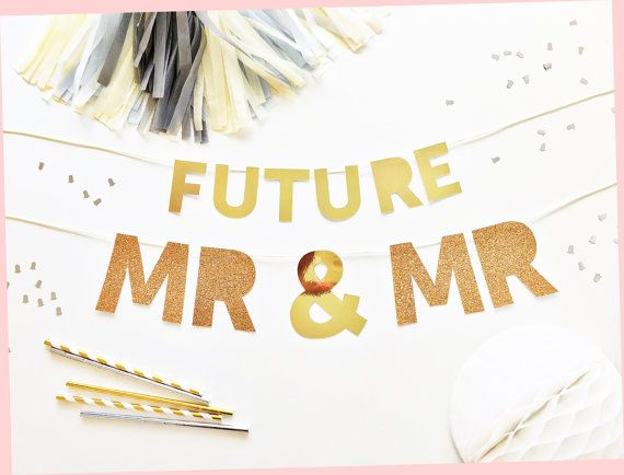 Gay Engagement Banner  Gay  Mr&Mr Party Banner by FoxFete on Etsy