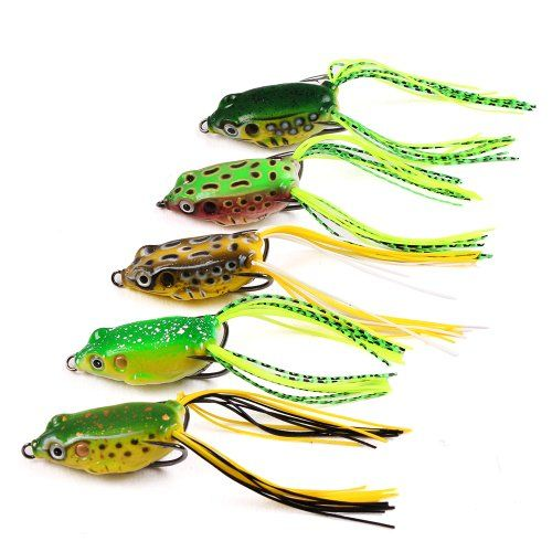 5pcs toad soft plastic hollow fishing lure crankbait hooks for Best hooks for bass fishing