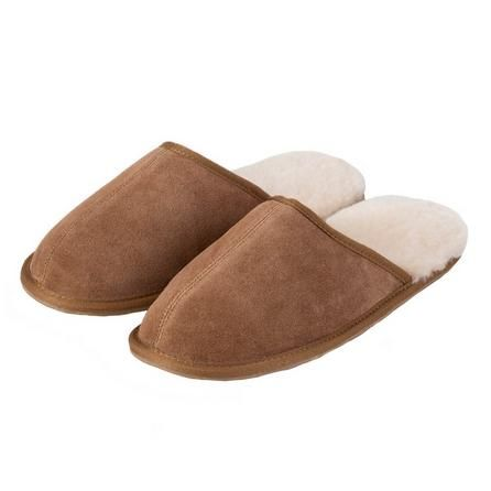 Totes Fully Lined Brown Mens Sheepskin Slippers