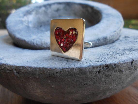 Love cuff links Silver cuff linksHandmade cufflinks Red