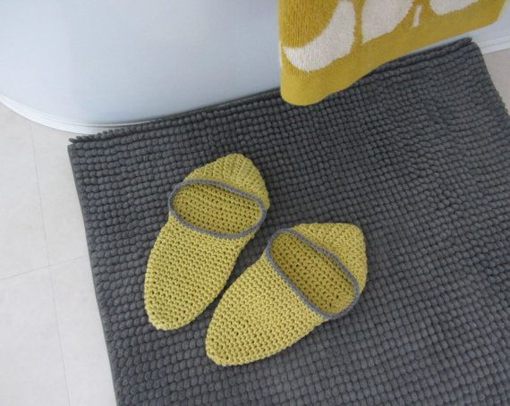 Cotton crocheted slippers  Taupe & Sunshine yellow by FlaxandLoom