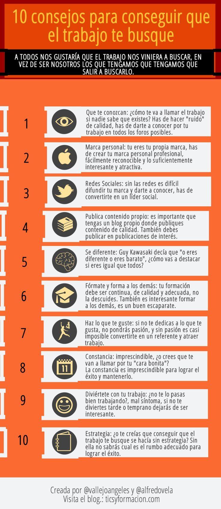 10 Consejos para conseguir que el trabajo te busque #egresados #estudiantes #umayor Ideas Desarrollo Personal para www.masymejor.com