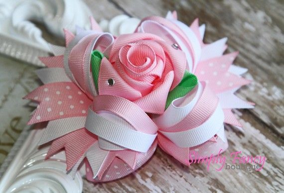 White and Pink Fancy Rose Stacked boutique bow. by fancybows