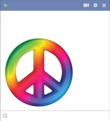 Show them how peaceful you are with our Peace Sign Emoticon. Whenever you get reminiscent for 1969 and wish there was more peace on earth, send along this rainbow symbol of peace and spread some positivity whenever you chat on FB or send a message. We've got you covered with so many cool and eclectic smileys and emoticons—you'll never send a dull message again!