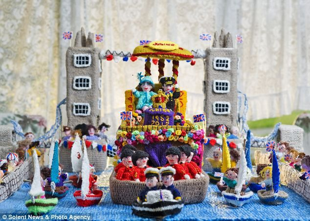 Sheila Carter's amazing knitted tribute to the Queen's Diamond Jubilee celebrations,