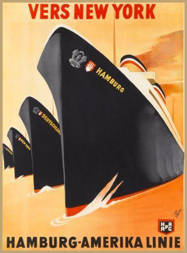 Trend Vers New York Hamburg Amerika Linie Vintage Travel Oceanliner Poster Print