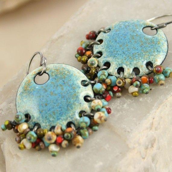 Earrings |  Michelle Mahler - TekaandZoe.com.  Gypsy Earring Denim Ethnic Copper Enamel with Czech Beads Boho Chic