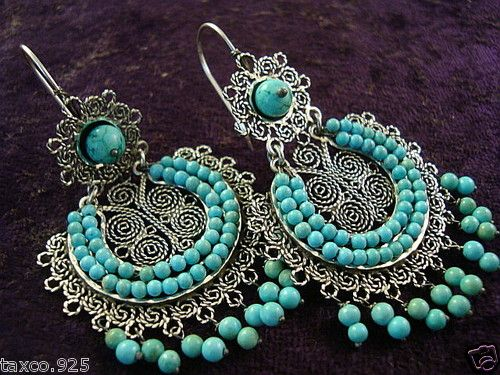 Taxco mexican sterling silver beaded bead turquoise filigree earrings mexico