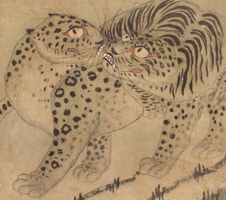 Tigers Artist/maker unknown, Korean  Geography: Made in Korea, Asia Period: Joseon Dynasty (1392-1910) Date: Late 19th - early 20th c Medium: Ink and color on paper Dimensions: 17 x 19 1/4 inches (43.2 x 48.9 cm) Curatorial Department: East Asian Art Object Location: Currently not on view Accession Number: 2006-30-2 Credit Line: Gift of Dr. Andrew Byoung Soo Kim and Mrs. Wan Kyun Rha Kim in honor of James and Agnes Kim, 2006