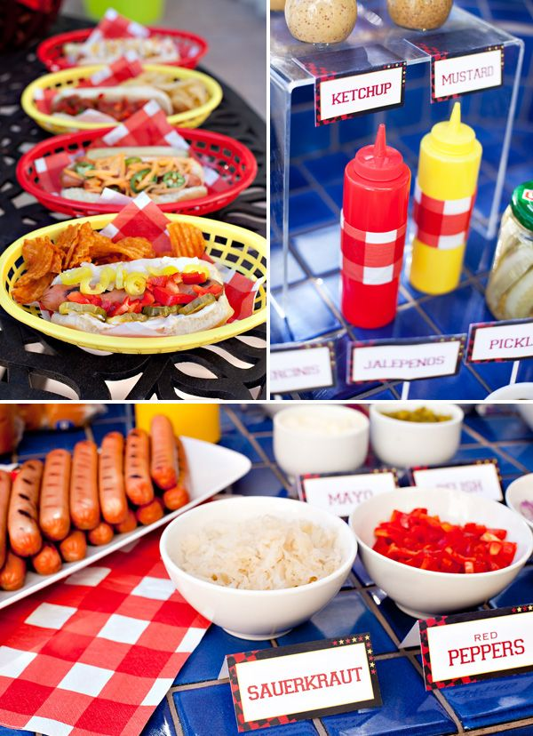 Make-Your-Own-Hotdogs Summer BBQ party. Such a fun idea for a Memorial Day or Fourth of July party!